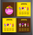 Ice cream brochure design Menu for ice cream shop vector image vector image