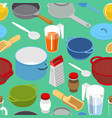 ingredients and tableware utensil seamless vector image vector image