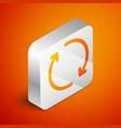 isometric refresh icon isolated on orange vector image