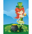 Leprechaun Girl on Grass Field2 vector image vector image