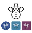 line icon of snowman vector image vector image