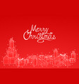 merry christmas red background with hand drawn vector image vector image