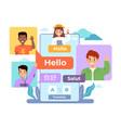 multi language translator smartphone chat app vector image