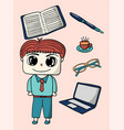 office man and office supplies character design vector image