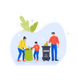 people family volunteers collect plastic and vector image vector image