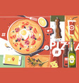 pizza abstract background vector image vector image