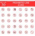 prohibited signs line icon set forbidden symbols vector image vector image