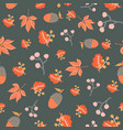 scattered autumn leaves berries acorn seamless vector image