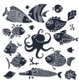 set imprint cute fish and octopus for design vector image