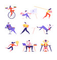 set male and female business people riding vector image vector image