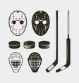 set of hockey equipment and gear helmet mask vector image