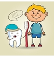 smiling cartoon child with a toothbrush and a vector image