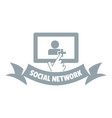 social network logo simple gray style vector image vector image