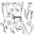 spring doodle set vector image