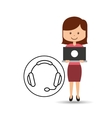 support assitance concept girl with headset vector image