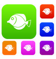 tang fish zebrasoma flavescens set collection vector image