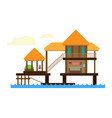 three bungalows at the edge of the sea vector image