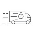 truck thin line icon delivery and shipping lorry vector image vector image