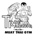 true training 1 thai boxer and tiger vector image vector image