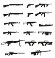 weapon and gun set collection icons 02 vector image vector image