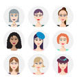 set of various women faces avatars vector image