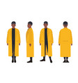 african american guy dressed in yellow raincoat vector image