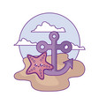 anchor marine with starfish kawaii in beach vector image vector image