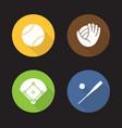 baseball flat design long shadow icons set vector image