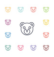 bear toy flat icons set vector image