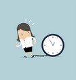 businesswoman gets chained with big clock in time vector image vector image