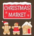 christmas market gingerbread cookies set vector image vector image