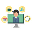 computer monitor with businessman and set icons vector image