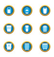 consumption basket icons set flat style vector image vector image