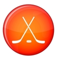 Crossed hockey sticks and puck icon flat style vector image vector image