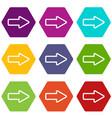 cursor to right icon set color hexahedron vector image vector image