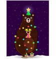 cute bear in christmas tree hat wind round with vector image vector image