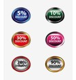 Discount sign button set vector image vector image