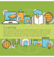 E-Learning Linear Icons Layout Background vector image