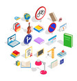 exam preparation icons set isometric style vector image vector image