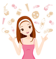 Face Treatment Icons Girl vector image