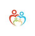 family logo in heart shape logo design vector image