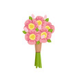 festive gift bouquet of pink peonies tied with vector image