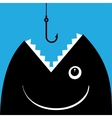 Fish open mouth to swallow a hook vector image vector image