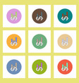 flat icons set of column chart and dollar emblem vector image vector image