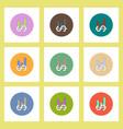 flat icons set of column chart and dollar emblem vector image vector image