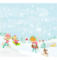 fun in the winter day vector image vector image