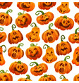 halloween pumpkin seamless pattern background vector image vector image