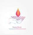 hand holding burning diya diwali festival vector image vector image