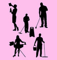 housework silhouette vector image