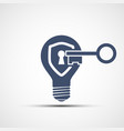 icon shield with a keyhole in a light bulb vector image vector image
